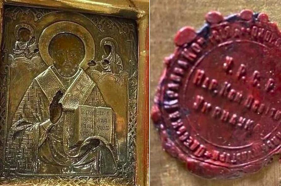 Мародеры. Старинную украинскую икону, подаренную Лаврову, могли вывезти из Луганска сербские наемники (ФОТО) 1