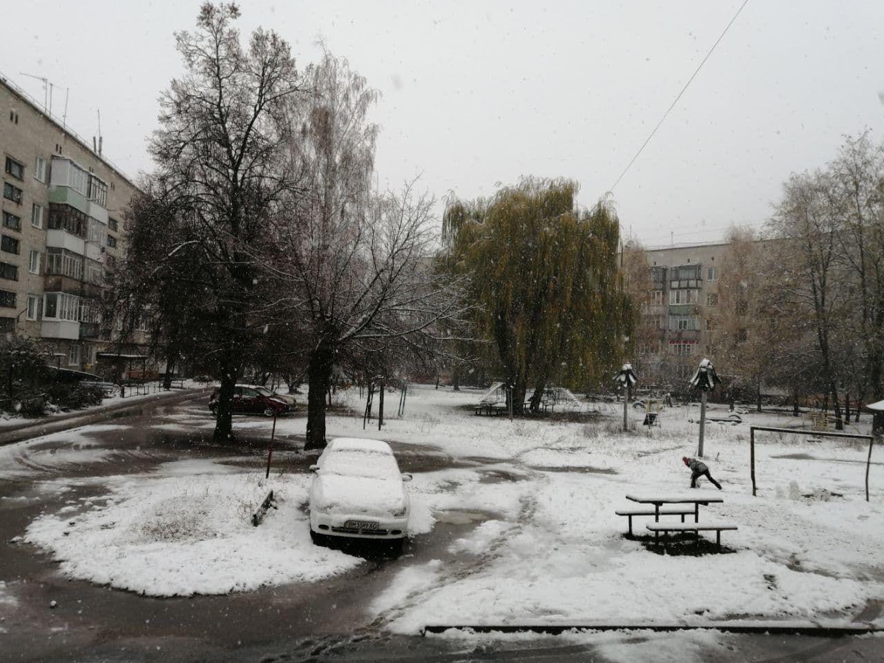 Несколько украинских городов накрыл снегопад: во дворах появились первые снеговики (ФОТО)