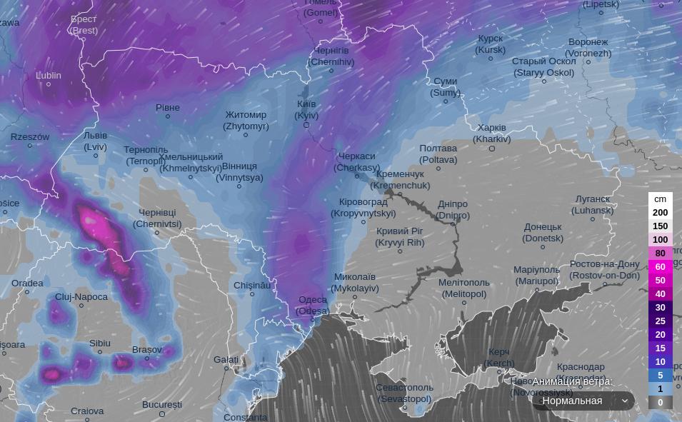 Мощные снегопады в Украине: где выпадет больше всего снега