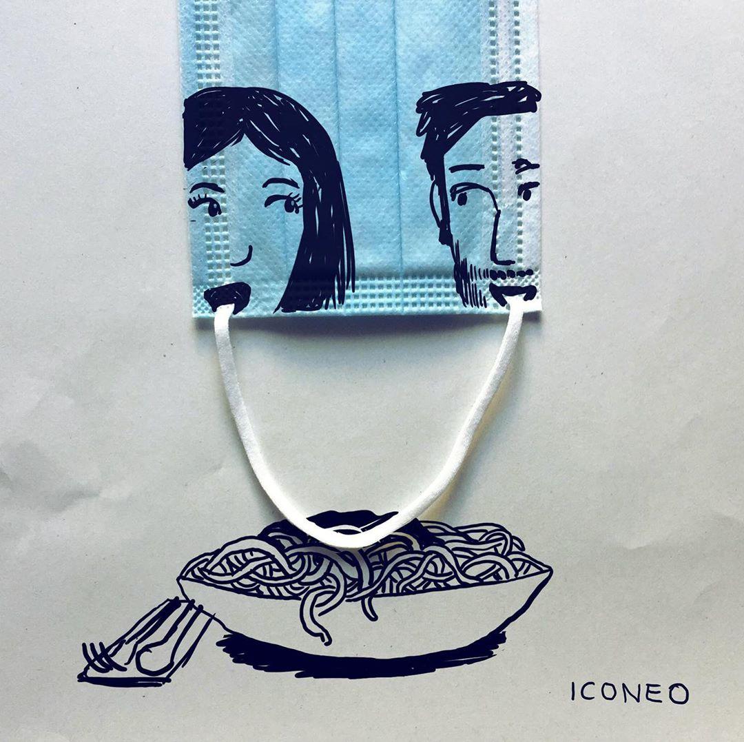 Когда карантин — вдохновляет: художник создает иллюстрации, используя медицинские маски для лица (ФОТО)